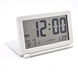 Digital Travel Alarm Clock World Time with Snooze Calendar Thermomete Display (White+Silver)