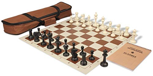 Master Series Carry-All Plastic Chess Set Black & Ivory Pieces with Brown Roll-up Chess Board & Bag