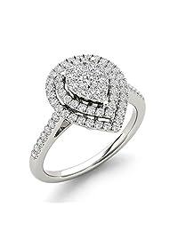 IGI Certified 10k Gold 1/3 Ct TDW Diamond Cluster Pear-Shaped Frame Engagement Ring (I-J, I2)