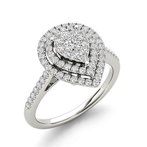 IGI Certified 10k White Gold 1/3 Ct TDW Diamond Cluster Pear-Shaped Frame Engagement Ring (I-J, I2)