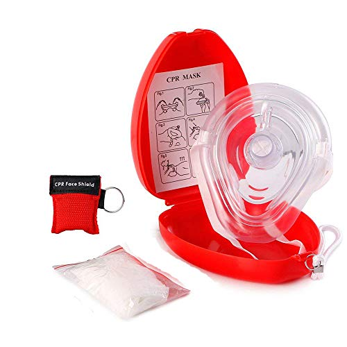 (EYLEER CPR Face Shield Mask with One-Way Breath Valve CPR Pocket Resuscitator Breathing Barrier with Disposable Gloves Keychain Kit for First Aid CPR Training Emergency Rescue, Hard Case with Wrist)
