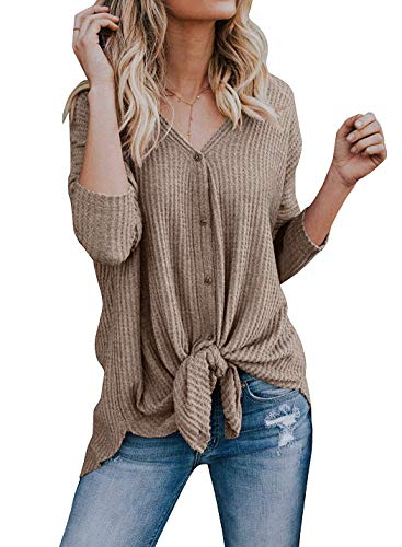 Womens Waffle Knit Shirts Long Sleeve Tie Knot Front Henley Tops Button Down Plain Blouse 2X-Large Mocha ()