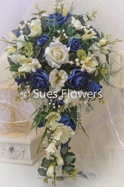 Wedding Flowers Large Bridal Teardrop Bouquet in Navy Blue and Ivory ...