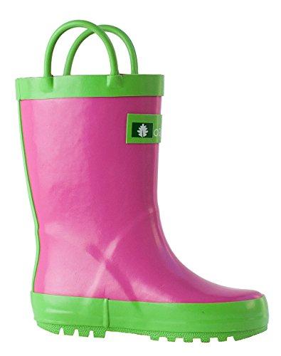 Oakiwear Kids Rubber Rain Boots with Easy-On Handles, Pink & Green, 12T US Toddler by Oakiwear