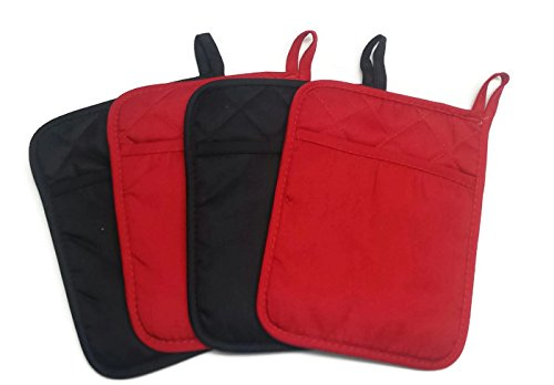 (Home Collection Set of 2 Red And 2 Black Neoprene Pot Holders)