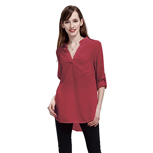 V Mousseline Grande Longues Vin Col Chemise Rouge Taille Youthny Manches en Femme w7Ttp7RqX