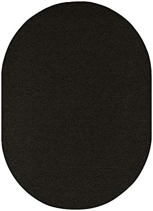 Indoor Outdoor Carpet with Heavy Duty Non Slip Backing Area Rugs Black – 8 x10 Oval