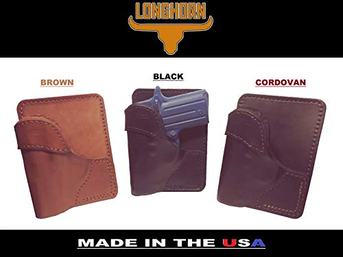 J&J Exclusive Distributor of Longhorn Premium Leather Wallet Pocket Holster for COLT Mustang POCKETLITE Plus 1 & 2 (Brown, Right)