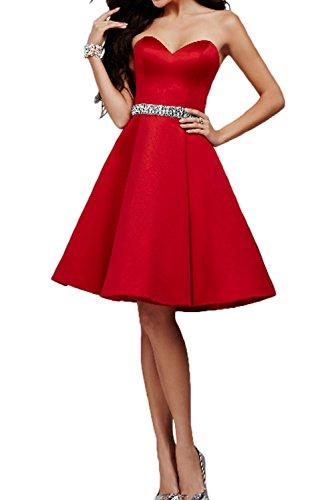 Steine Promkleider Rot Rot Satin Marie Knielang Ballkleider Abendkleider La Herzausschnitt Braut Partykleider ZIzaxxCq