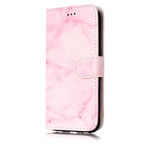 Funda Galaxy S6,SainCat Funda de cuero sintético tipo billetera con de Suave PU Carcasa Con Tapa y Cartera,Elegante Estuche Caja,Pintado en relieve árbol Cuero de la PU Leather Cubierta Plegable Flip  Mármol rosa