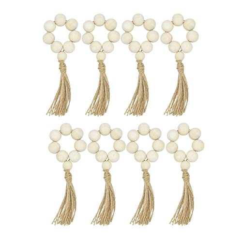 HozYi Set of 8 Farmhouse Beaded Wood Napkin Rings with Tassels Housewarming Gift Table Setting Wedding Party Décor Accessories Napkin Holder (Natural Style)