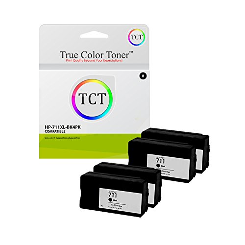 True Color Toner 711XL Black 4 Pack High Yield Compatible Ink Cartridge CZ133A 711 XL Replacement for HP DesignJet T120 T520 Printers (2,300 Pages) (29a Color Print Cartridge)