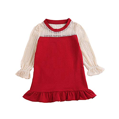 (MZjJPN Baby Kids Girls Long Sleeve lace Patchwork Ruffle Flare Dress Children Spring Princess Party)