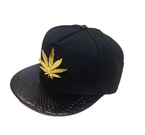 Snap Cannabis Hoja Cap de Cool nueva Ganja Negro Back dorado metal B0BqU