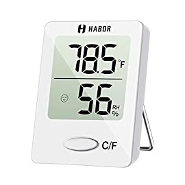 Habor Digital Hygrometer Indoor Thermometer, Humidity Gauge Indicator Room Thermometer, Accurate Temperature Humidity Monitor Meter for Home 21 【Lifetime Warranty】Habor mini temperature and humidity monitor (1.8 x 2.3 INCH, small and light enough for saving space and carrying around) comes with a Lifetime Warranty, you can contact us via email and our friendly customer service will respond within 12 hours. 【High Reliability & Accuracy】Fast response that measures every 10 seconds with 24 sensitive VENTS to provide updated and accurate readings, wide measuring range that measures temperature from 32.0℉ to 122.0℉(0.0℃~50.0℃), temperature accurancy range around ±2.7℉ ( ±1.5℃). Humidity sensor measures humidity from 20% to 95%, humidity accurancy range around ±5%. 【Comfort Level Indicator】Level icons indicate comfortable, un-comfortable and normal conditions. Habor hygrometer thermometer measures indoor humidity and indoor temperature in time help to adjust the humidifier, dehumidifier settings and humidistat, great for monitoring family's living conditions and health by preventing colds, dry skin, asthma, allergy, mold.