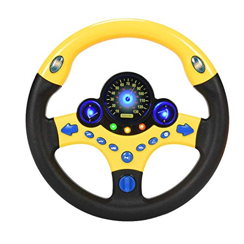 Huangou New Kid Copilot Simulated Steering Wheel Racing Driver Toy Educational Sounding,Children's Simulated Small Steering Wheel Educational (9.84x9.84in, B)