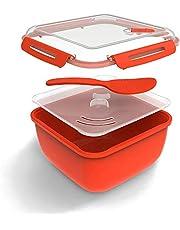 Rotho, Memory Microwave, Rijstkoker 2.5l met deksel en lepel voor de magnetron, Kunststof (PP) BPA-vrij, rood/transparant, 2,5l (19,5 x 19,5 x 12,1 cm)
