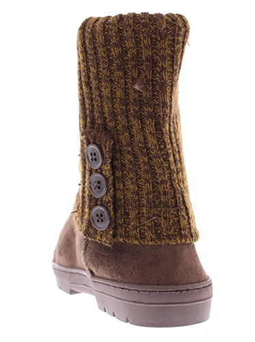 Faux Sweater 3 Ribbed Fur Heather Brown Boot Crochet Gold Triplet Button Ashlyn Knit Toe Women's Lined Suede A1Sqz1