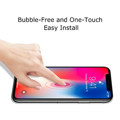 new iPhone X Screen Protector, 2 Pack Tempered Glass Anti-fingerprint High Light Penetration Hardness Anti-scratch Bubble Free