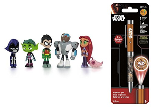 "Super Hero Teen Titans Go 2"" Hero Series Mini Action Figures Toys 6 Pack & Star Wars Projector Pen, Colors may vary"