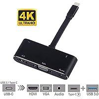 Ocamo - Adaptador USB C a HDMI 4 K 5 en 1 Tipo C a HDMI/VGA/Audio/USB 3.0 Puerto + USB C Hembra Puerto (PD) convertidor para MacBook Pro/Samsung Galaxy Note 8/S8/S9/Lumia 950 XL/Npire Switch y más
