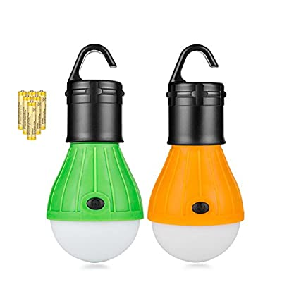 Coquimbo 2 Pack Portable LED Camping Lantern Tent Light Bulb for Hiking, Battery Powered Emergency Lantern Light for Household, Fishing, Car Repairing