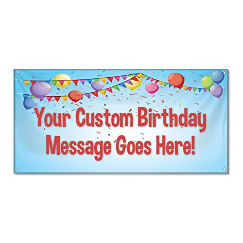 HALF PRICE BANNERS | Custom | Birthday Confetti Vinyl Banner | Heavy Duty Outdoor | 2'x6' Blue | Free Bungees & Zip Ties | Easy Hang Party Sign | Birthday - Message Duty Vinyl Heavy