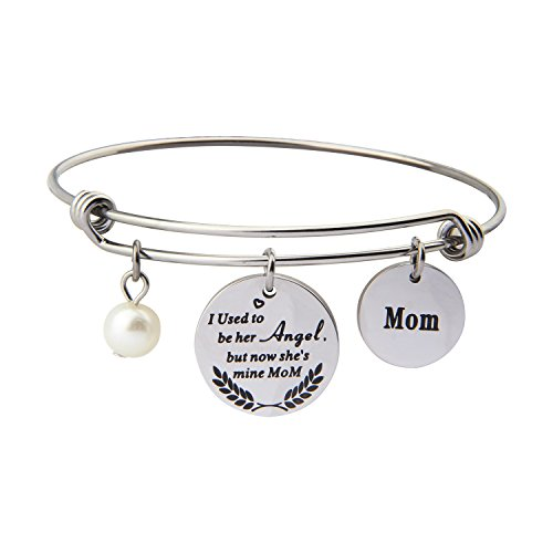 Memorial Bracelet I Used To Be Her Angel But Now She's Mine In Memory Of Loved One Mom Sympathy Gift (In memory of mom - Now Gift
