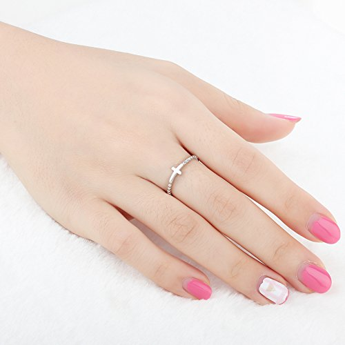 Furious Jewelry 925 Sterling Silver Simple Cross Ring, Size 6 7 8 (6) by Furious Jewelry (Image #1)