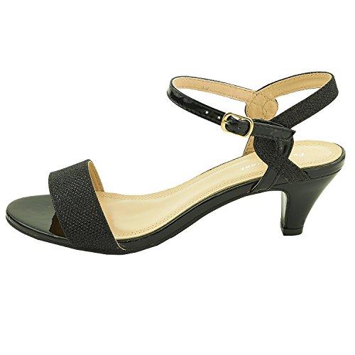 Sopily - Zapatillas de Moda Tacón escarpín correa abierto Tobillo mujer patentes brillante Talón Tacón de aguja alto 9 CM - plantilla sintético - Negro