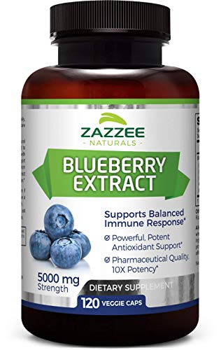 Whole Fruit Blueberry Extract   5000 mg Strength   120 Veggie Capsules   Potent 10:1 Extract   4 Month Supply   All-Natural, Vegan and Non-GMO   Concentrated Source of Antioxidants and Phytonutrients