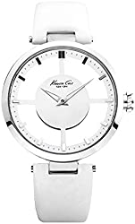 "Kenneth Cole New York Women's KC2609 ""Transparency"" Stainless Steel Watch with White Leather Band"