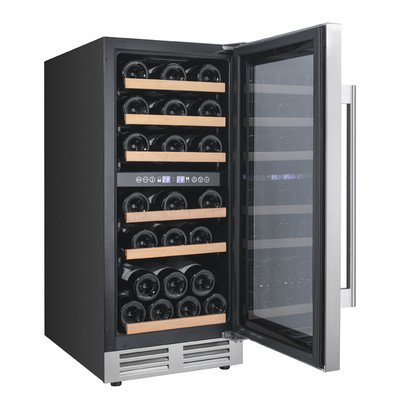 Avanti WCF282E3SD 28 Bottle Designer Series Dual Zone Wine Chiller with Seamless Door, Black with Stainless Steel Doors