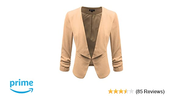 b369fa35ed6 Doublju Classic Collarless Open Front Blazer Jacket for Women with Plus Size  Mauve Small at Amazon Women s Clothing store