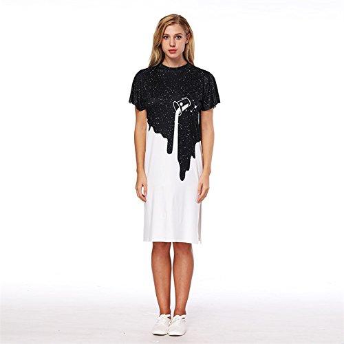 XINGMU Vestido Corto Blanco Negro Mujeres Split Oso Vestido De Cuello O De Impresión Negro