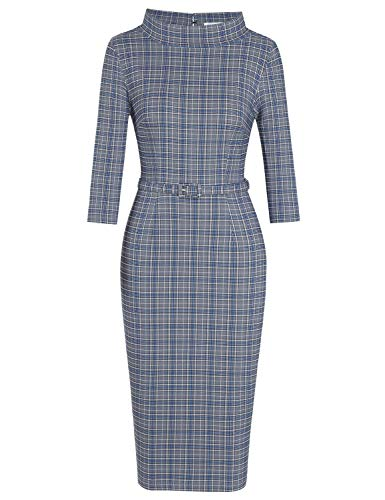 MUXXN Audrey Hepburn Style Big Round Neck Plaid Printed Formal Working Dress (Blue Plaid L)