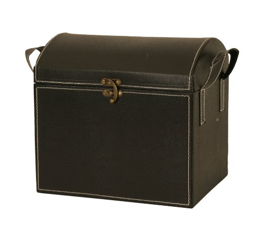 Wald Imports Black Faux Leather  Decorative Trunk/Chest by Wald Imports