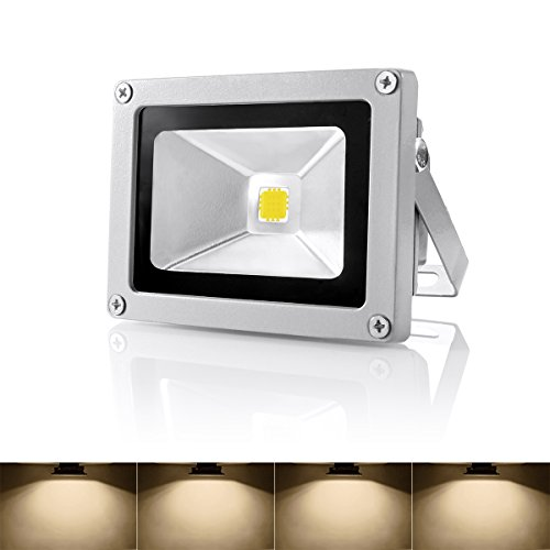 Warmoon Outdoor LED Flood Light, 10W Warm White 3200K Waterproof Security Lights with US 3-Plug for Garden,Scenic Spot,Hotel