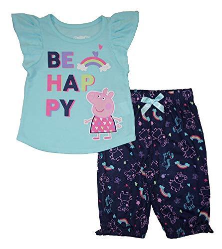 Peppa Pig Girls' Toddler 2 Piece Jersey Pajama Set, Blue 2T ()