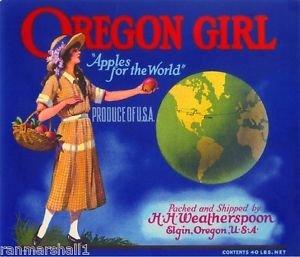 MAGNET Elgin Oregon Girl Apple Apples Fruit Crate Magnet Art Vintage Advertising Print