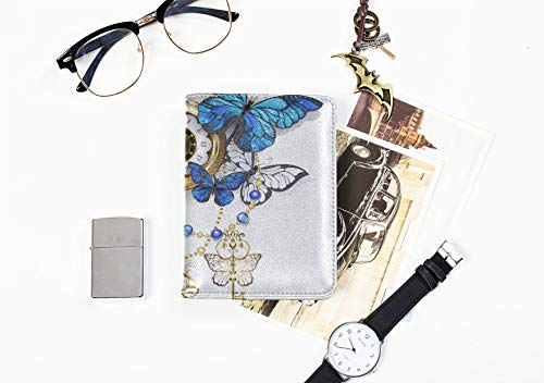 Passport Cover Passport Holder Clock With Blossoms And Butterfly Stylish Pu Leather Us Passport Holder Cover Us Passport Cover Leather For Women Men Passport Holder Cover For Women Blossoms And Butterflies Clock