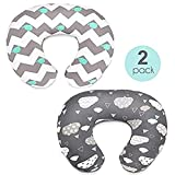 Nursing Pillow Cover & Waterproof Cover Cloud Pattern Slipcover Extra Soft Plush Fabric for Breastfeeding Moms Fits Snug on Infant Nursing Pillow2 Pack Gift for Baby Boy or Girl LUORATA (White+Gray, 22.5 x 18inch)