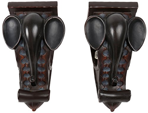 CTG, Elephant Curtain Rod Holder, Set of 2, 6 inches, Brown