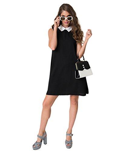 Unique Vintage 1960s Style Black & White Collared Sleeveless Chiffon Shift Dress 60s Shift Dress