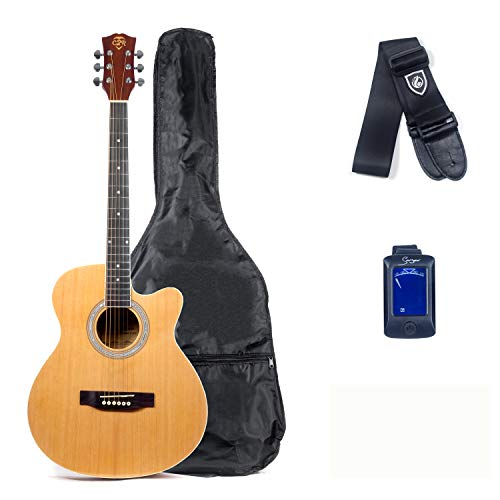 Care2Rock Acoustic Guitar Beginner Bundle Kit, Includes Private Lesson, Tuner, Picks, and Strap