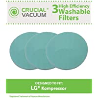 3 Replacements for LG Kompressor Foam Pre-Filter Fits LuV300B, Compatible With Part # MDJ61980601, Washable & Reusable, by Think Crucial