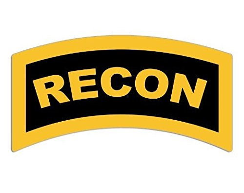 Yellow RECON Tab Shaped Sticker (decal military army ssi)- Sticker Graphic Decal