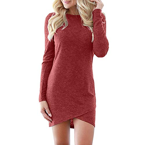 OrchidAmor Womens Solid Elegant Stretchy Long Sleeve T Shirt Short Club Mini Dress Red