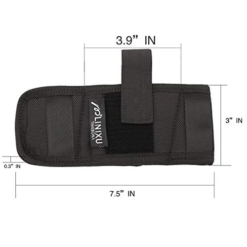 LINIXU Ambidextrous Flat Belt/Belt Slide Holster Black Nylon (Pancake Holster Nylon)