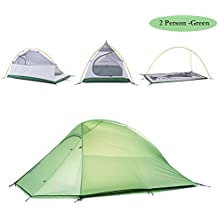 Weanas 1 2 3 Person 4 Seasons Double Layer Backpacking Tent Ultralight Aluminum Rod Anti-UV Windproof Waterproof with Free Groundsheet for Travel Hunting